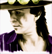 Collectibles Paintings - Life Without You  Stevie Ray Vaughan by Iconic Images Art Gallery David Pucciarelli