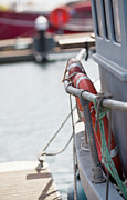 Trawler Metal Prints - Lifebelt On Moored Boat At Shoreham Harbour, West Sussex, Uk Metal Print by Emma Gutteridge