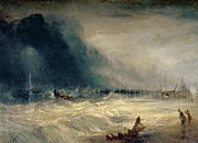 Sailboat Ocean Metal Prints - Lifeboat and Manby Apparatus going off to a stranded vessel making signal of distress Metal Print by Joseph Mallord William Turner