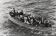 Rescuing Prints - Lifeboat Rescuing Voyager Off Titanic Print by Photo Researchers