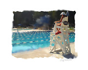 Laps Prints - Lifeguard at Tosa Pool Print by Geoff Strehlow