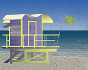 Sea Platform Digital Art Posters - Lifeguard Platform Poster by Janet Carlson