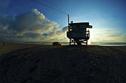Surf Silhouette Prints - Lifeguard stand at sunset Print by Micah May