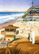 Surfing Paintings - Lifeguard Station at Moonlight Beach by Mary Helmreich