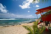 Bathing Photos - Lifeguard Station on the Beach Poipu Beach Kauai Hawaii by George Oze