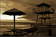 Tables Posters - Lifeguard Tower of Yesteryear Poster by DigiArt Diaries by Vicky Browning