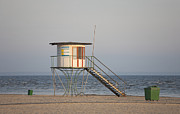 Hazy Horizon Framed Prints - Lifeguard Tower on the Beach Framed Print by Jaak Nilson