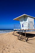 Summer Travel Framed Prints - Lifeguard Tower Photo Framed Print by Paul Velgos