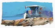 Beach Scenes Digital Art - Lifeguard Tower Ventura California by RG McMahon