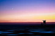 Surf Silhouette Prints - Lifeguard Tower with Moon Print by Marius Sipa