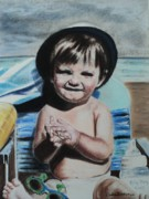 Child Pastels Posters - Lifes a Beach Poster by Carla Carson