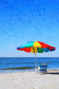 Sun Umbrella Posters - Lifes a Beach Poster by Tilly Williams