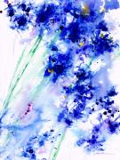 Blue Flowers Painting Posters - Lifes Drama Blue Poster by Jerome Lawrence