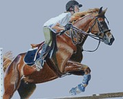 Horses Drawings - Lifes Hurdles With Grace - Horse Painting by Patricia Barmatz