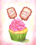 Baking Painting Posters - Lifes Sweeter With Cupcakes Poster by Jai Johnson