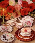 Tea Cups Paintings - Lifes too short. Eat desert first by Carol VonBurnum
