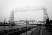 Lake Superior Framed Prints - Lift Bridge Silver Fog Framed Print by Shutter Happens Photography