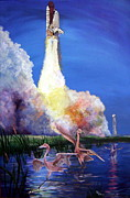 Space Ships Paintings - Lift Off by Leslie Hoops-Wallace