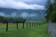 Clouds Photographs Posters - Lifting Fog in Cades Cove Poster by Sandra Bronstein