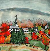 New England Village Tapestries - Textiles Framed Prints - Lifting Fog Silk Painting Framed Print by Linda Marcille