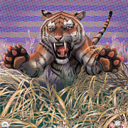 Sequential Framed Prints - Liger  Aggression Framed Print by David Starr