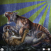 Release Drawings Framed Prints - Liger  Release Framed Print by David Starr