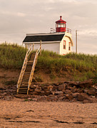 Cousins Framed Prints - Lighhouse Cousins Shore PEI Framed Print by Edward Fielding