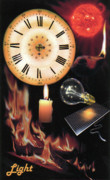 Oil Lamp Digital Art Posters - Light     part of the Time Series Poster by Elisabeth Dubois