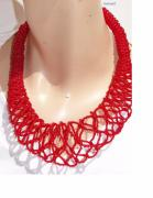 Red Beads Jewelry - Light And Airy Red Necklace Spiral by Nurit Schlomi von-strauss