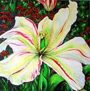 Flower Center Paintings - Light and Happy Heart by Grazyna Wolski