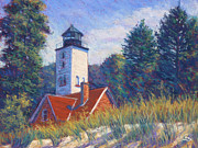 Green Grass Pastels Originals - Light at Presque Isle by Michael Camp