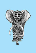 Jf Mondello Metal Prints - Light blue Elephant Metal Print by JF Mondello