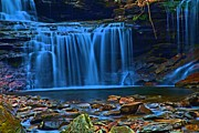 Pa State Parks Photos - Light Blue Falls by Adam Jewell
