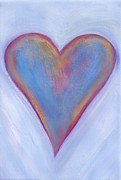 Orange And Yellow Heart - Light Blue Heart by Samantha Lockwood