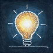 Icon Metal Prints - Light Bulb Design Metal Print by Setsiri Silapasuwanchai