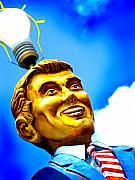 Day Photo Metal Prints - Light Bulb Man Metal Print by John Gusky