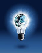 Blue Glass World Posters - Light Bulb With Globe Poster by Setsiri Silapasuwanchai