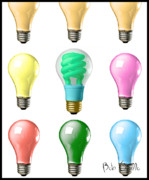 Electric Lamp Prints - Light bulbs of a different color Print by Bob Orsillo
