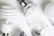 Florescent Lighting Prints - Light Bulbs Print by Photo Researchers, Inc.
