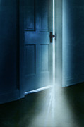 Mysterious Doorway Posters - Light Coming from a Door Ajar Poster by Jill Battaglia