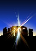 Christian Artwork Photo Metal Prints - Light Flares At Stonehenge, Artwork Metal Print by Victor Habbick Visions