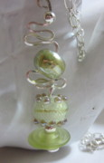 Disc Jewelry - Light Green Fancy Necklace by Janet  Telander