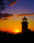 Lighthouse At Sunset Posters - Light House at Fort Casey Washington Poster by Gary Langley
