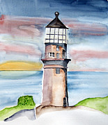 Lighthouse Sea Prints - Light in the dark Print by Eva Ason