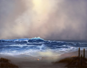 Beach Scenes Digital Art Posters - Light in the Storm Poster by Sena Wilson
