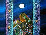 Mixed Media Reliefs Originals - Light Moon Lovers by Carlos Alberto Quintero