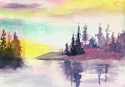 Peaceful Scenery Mixed Media Prints - Light n River Print by Anil Nene