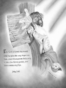 Word Portrait Drawings Posters - Light of Salvation Poster by Christopher Brooks