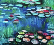 Lilly Pond Paintings - Light of the Lillies by Elizabeth Robinette Tyndall