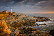 Beautiful Clouds Prints - Light on Portland Head Print by Susan Cole Kelly